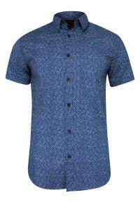 Niebieska koszula casual Just Yuppi w geometryczne wzory, krótka, z krótkim rękawem, na co dzień