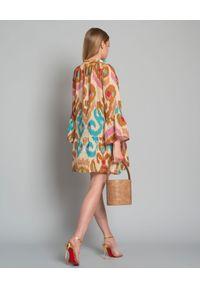 ANJUNA - Lniana sukienka mini. Okazja: na plażę. Kolor: brązowy. Materiał: len. Wzór: aplikacja, kolorowy. Sezon: lato. Typ sukienki: rozkloszowane. Długość: mini