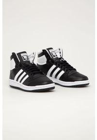 Czarne sneakersy adidas Originals z cholewką, z okrągłym noskiem, na sznurówki