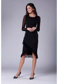 Czarna sukienka wizytowa Nommo kopertowa, wizytowa, z kopertowym dekoltem