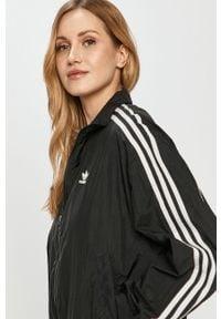 Czarna kurtka adidas Originals gładkie, na co dzień
