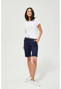 MOODO - Szorty z paskiem. Materiał: elastan, bawełna, jeans. Wzór: gładki