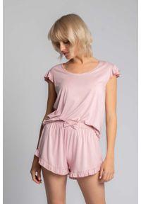 MOE - Koszulka Top do Spania z Falbankami - Różowa. Kolor: różowy. Materiał: wiskoza, elastan