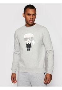 Karl Lagerfeld - KARL LAGERFELD Bluza Ikonik 705061 511951 Szary Regular Fit. Typ kołnierza: dekolt w karo. Kolor: szary