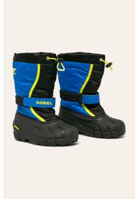Czarne buty zimowe sorel z cholewką, na zimę, na rzepy