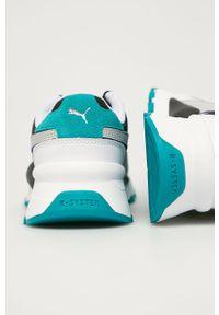 Białe buty sportowe Puma na sznurówki, z cholewką, z okrągłym noskiem
