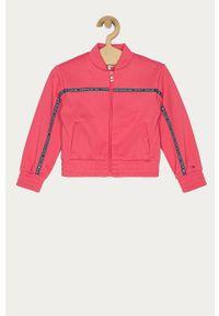 Różowa bluza rozpinana TOMMY HILFIGER z aplikacjami, na co dzień, casualowa, bez kaptura