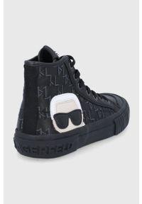 Karl Lagerfeld - Trampki skórzane. Nosek buta: okrągły. Zapięcie: sznurówki. Kolor: czarny. Materiał: skóra. Szerokość cholewki: normalna