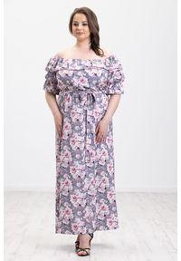 Szara sukienka Moda Size Plus Iwanek na wiosnę, z dekoltem typu hiszpanka, na imprezę, oversize