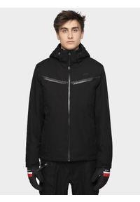 Czarna kurtka narciarska 4f z kapturem, na zimę