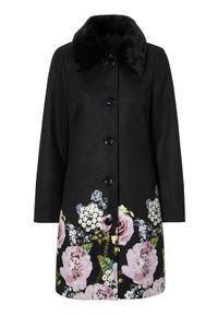 Czarny płaszcz Cellbes elegancki, w kwiaty
