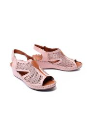 Różowe sandały Artiker Relaks na koturnie, na rzepy, w ażurowe wzory