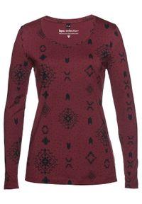 Czerwona bluzka bonprix długa, z długim rękawem, z nadrukiem