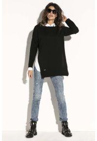 Czarny długi sweter Fobya