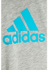 Szara bluzka z krótkim rękawem adidas Performance krótka, na co dzień, z okrągłym kołnierzem, casualowa