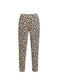 Deha - Spodnie DEHA EASY. Kolor: beżowy. Materiał: elastan, bawełna. Wzór: nadruk, aplikacja, motyw zwierzęcy