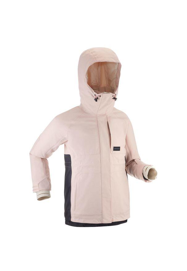 DREAMSCAPE - Kurtka snowboardowa i narciarska SNB JKT 500 dla dzieci. Kolor: różowy. Materiał: polar, materiał. Sezon: zima. Sport: narciarstwo, snowboard