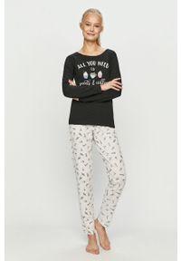 Czarna piżama Henderson Ladies długa, z nadrukiem