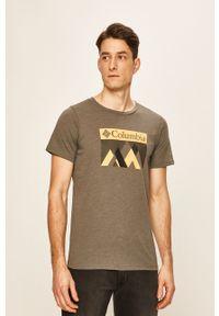 Szary t-shirt columbia casualowy, z nadrukiem, na co dzień
