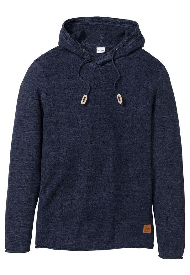 Niebieski sweter bonprix melanż, z kapturem