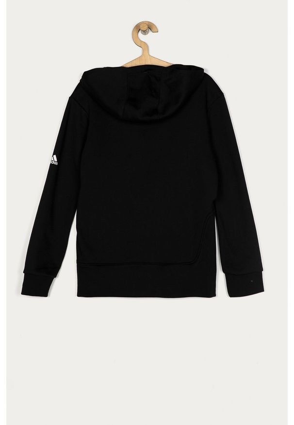 Czarna bluza Adidas z nadrukiem, z okrągłym kołnierzem