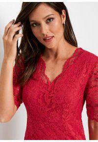 Czerwona sukienka bonprix z dekoltem w serek, elegancka