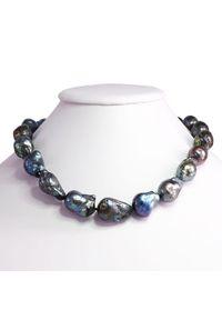 Braccatta - REMY naszyjnik z ogromnych czarnych pereł barokowych. Materiał: srebrne. Kolor: czarny. Wzór: aplikacja. Kamień szlachetny: perła