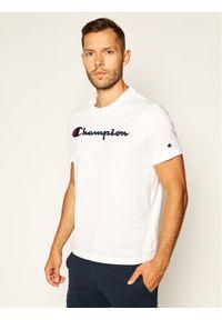 Champion T-Shirt Logo 214194 Biały Comfort Fit. Kolor: biały