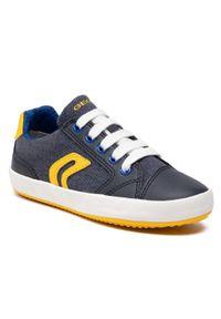 Geox - Sneakersy GEOX - J Gisli B. D J155CD 010FE C0657 S Navy/Yellow. Okazja: na uczelnię, na spacer, na co dzień. Kolor: niebieski. Materiał: skóra, materiał. Szerokość cholewki: normalna. Styl: casual