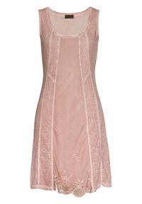 """Sukienka z dżerseju z efektem """"used look"""" bonprix stary jasnoróżowy """"used"""". Kolor: różowy. Materiał: jersey. Wzór: koronka. Styl: retro"""