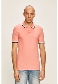 Pomarańczowa koszulka polo Guess Jeans krótka, z aplikacjami, polo