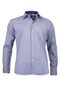 Niebieska elegancka koszula Chiao długa, do pracy, w kratkę