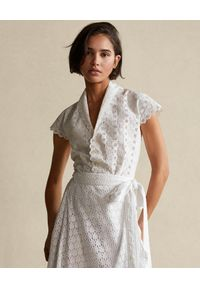 Biała bluzka Ralph Lauren klasyczna, z aplikacjami, polo