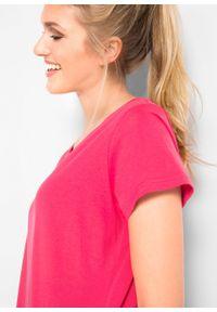 Shirt z okrągłym dekoltem (5 szt.), krótki rękaw bonprix różowy hibiskus + jasnoszary melanż + biały + czarny + ciemnoniebieski. Kolor: różowy. Materiał: jersey. Długość rękawa: krótki rękaw. Długość: krótkie. Wzór: melanż
