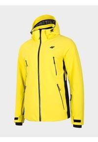 4f - Kurtka narciarska męska. Kolor: żółty. Materiał: materiał, mesh. Technologia: Dermizax. Sezon: zima. Sport: narciarstwo