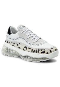 Białe sneakersy Bronx na płaskiej podeszwie, z cholewką