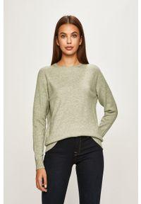only - Only - Sweter. Kolor: zielony. Materiał: dzianina, materiał. Długość rękawa: raglanowy rękaw. Wzór: gładki