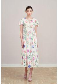 Marie Zélie - Sukienka Modena Formosa. Materiał: bawełna, wiskoza, materiał. Długość rękawa: krótki rękaw. Wzór: aplikacja. Długość: maxi