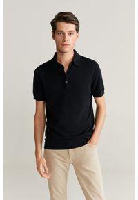 Czarna koszulka polo Mango Man casualowa, polo