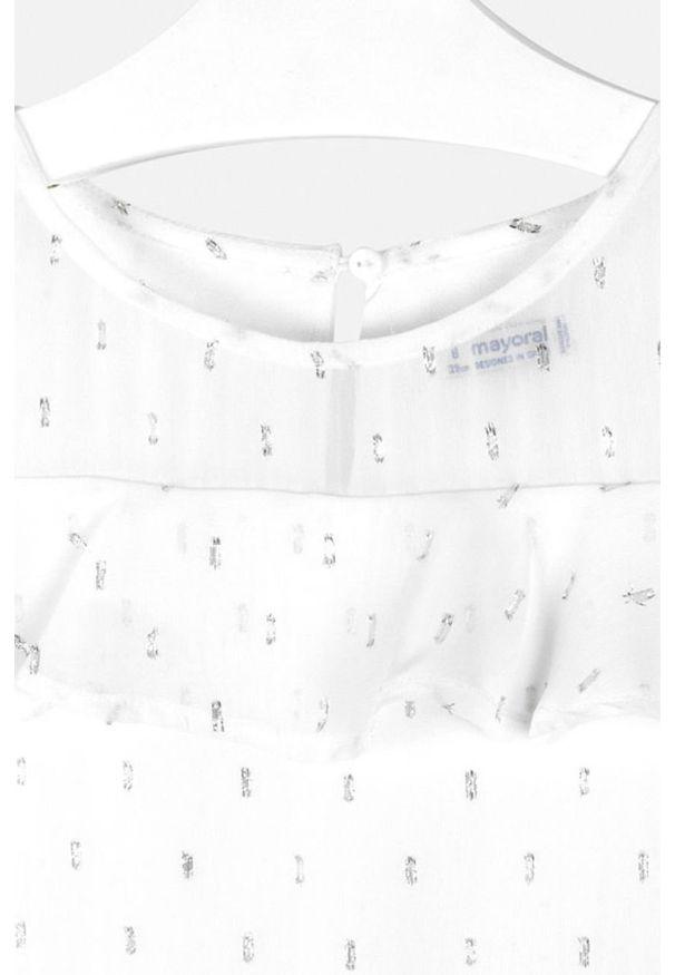 Biała sukienka Mayoral rozkloszowana, z krótkim rękawem