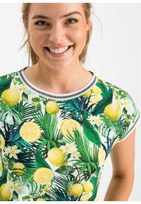 Żółta sukienka bonprix z krótkim rękawem, na lato, z aplikacjami
