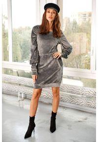 Lemoniade - Welurowa sukienka mini marszczone rękawy kieszenie szara. Kolor: szary. Materiał: welur. Długość: mini