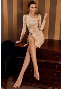 Sukienka na imprezę asymetryczna, midi, z długim rękawem