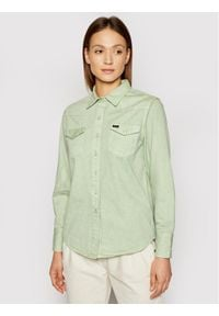 Wrangler Koszula jeansowa Western W5WSMP30H Zielony Regular Fit. Kolor: zielony. Materiał: jeans