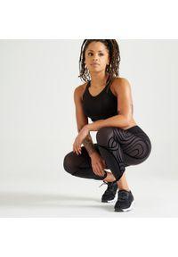 DOMYOS - Legginsy fitness damskie Domyos długie. Stan: podwyższony. Materiał: poliester, materiał, elastan. Długość: długie. Sport: fitness