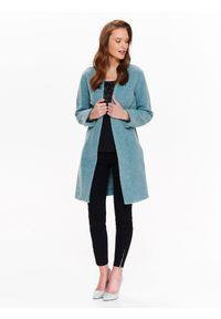 Niebieski płaszcz TOP SECRET w kolorowe wzory, z okrągłym kołnierzem, elegancki, na co dzień