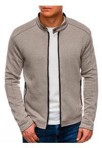 Ombre Clothing - Bluza męska rozpinana bez kaptura C453 - beżowa - L. Typ kołnierza: bez kaptura. Kolor: beżowy. Materiał: żakard, bawełna, poliester
