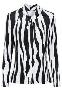 Shirt z długim rękawem bonprix czarno-biały wzorzysty. Typ kołnierza: kołnierzyk stójkowy. Kolor: czarny. Długość rękawa: długi rękaw. Długość: długie. Wzór: paski. Styl: elegancki