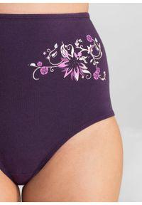 Figi z wysoką talią (5 par) bonprix ciemny lila - jasnoszary melanż. Kolor: fioletowy. Wzór: melanż