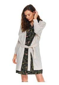 TOP SECRET - Kardigan długi rękaw damski bawełniany luźny, kimono. Kolor: beżowy. Materiał: bawełna. Długość rękawa: długi rękaw. Długość: długie. Sezon: wiosna